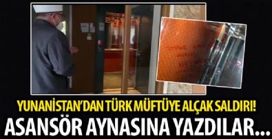 Yunanistan'da alçak saldırı: Türk Müftü Mete'nin oturduğu apartmanın asansörüne 'En iyi Türk, ölü Türk' yazıldı
