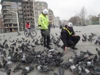 TAKSIM - Taksim'de Aç Kalan Güvercinleri Trafik Polisleri Besledi