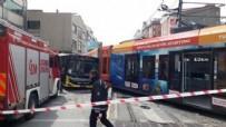 TOPKAPı - Raydan çıkan tramvay otobüse çarptı!