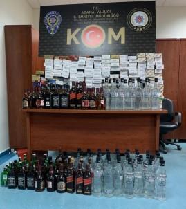 Adana'da Kaçak Sigara Ve İçki Operasyonu