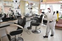 İnönü'de Berber Ve Kuaförler Dezenfekte Edildi