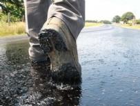 CANKURTARAN - Aşırı sıcaklar asfaltı eritti!