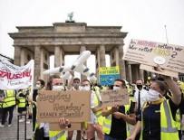 BRANDENBURG - Alman hava yolu şirketi Lufthansa'nın çalışanları sokağa indi!
