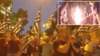 PROTESTO - Büyükelçilik önünde Türk bayrağı yaktılar!