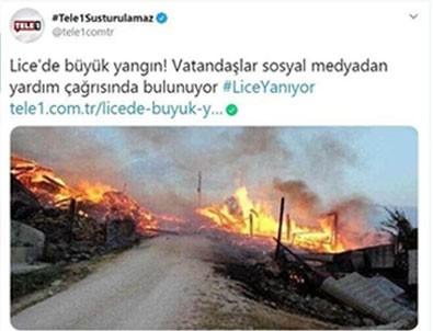 HDP ve Tele1'den Lice'deki yangında ortak provokasyon!