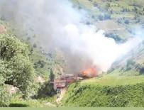 Artvin'in Yusufeli İlçesi Sahlepçiler Köyündeki Yangın Kontrol Altına Alınmaya Çalışılıyor