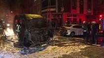 İstanbul'da Servis Minibüsü Yandı