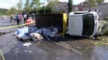 Küçükçekmece'de Çöp Kamyonu Devrildi