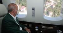 HELIKOPTER - Başkan Erdoğan sel felaketinin yaşandığı Giresun'da! Bölgeyi havadan inceledi