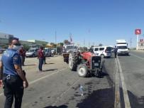 Traktör İle Otomobil Çarpıştı Açıklaması 1'İ Çocuk 2 Yaralı