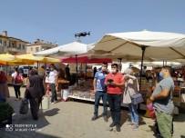 Ürgüp'te Pazar Alışverişi Yapanların Ateşi Drone İle Ölçüldü