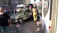 Otomobille Tramvay Çarpıştı Açıklaması 1 Yaralı