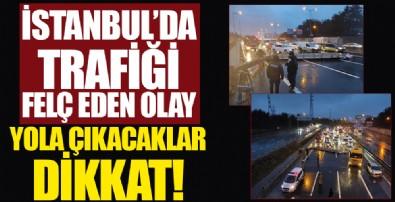 İstanbul'da trafiği felç eden olay! Hasdal bağlantı yolunda tabela devrildi