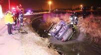 Sulama Kanalına Düşmüş Araç Ekipleri Alarma Geçirdi
