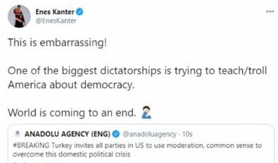 Enes Kanter, Türkiye'nin ABD Kongresi'yle ilgili açıklamasından rahatsız oldu