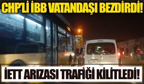 İETT otobüsü arızası trafiği kilitlediİETT otobüsü arızası trafiği kilitledi