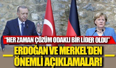 Merkel'in veda ziyareti: Cumhurbaşkanı Erdoğan ile Almanya Başbakanı Merkel'den önemli açıklamalar