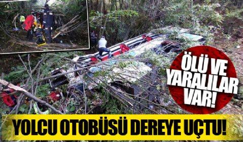 Samsun'da feci kaza! Yolcu otobüsü dereye uçtu!