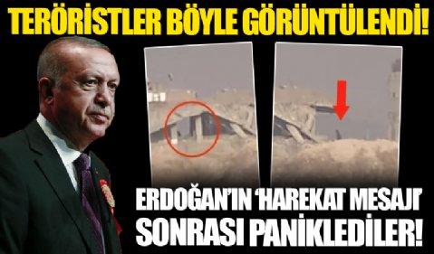 YPG'li teröristler böyle görüntülendi! Başkan Erdoğan'ın harekat mesajıyla paniklediler!