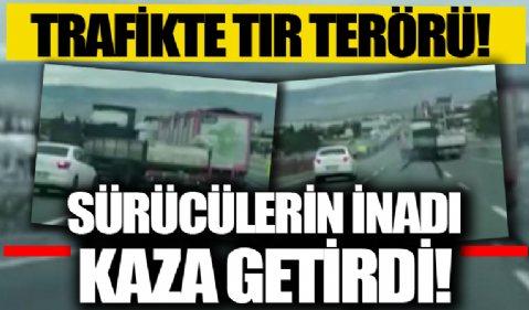 Ankara'da birbirine yol vermeyen iki tır sürücüsü kazaya neden oldu
