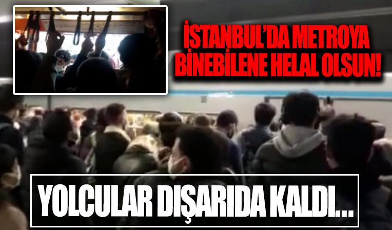İstanbul'da metro seferleri az olunca, yolcular metroya binemedi