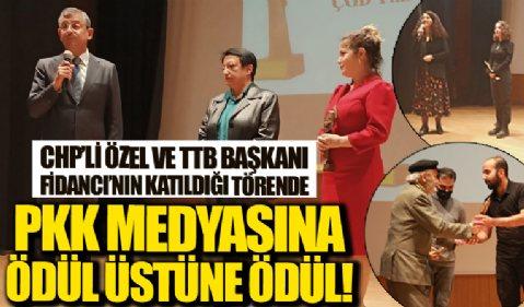 PKK medyasına ödül üstüne ödül! CHP'li Özel ve TTB Başkanı Fincancı'nın katıldığı törende PKK yayın organlarına ödül verildi
