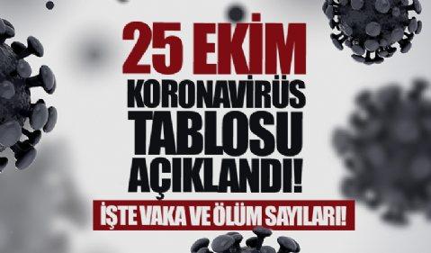 25 Ekim koronavirüs tablosu açıklandı! İşte Kovid-19 hasta, vaka ve vefat sayılarında son durum...