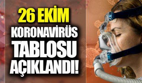 26 Ekim koronavirüs tablosu açıklandı! İşte Kovid-19 hasta, vaka ve vefat sayılarında son durum...