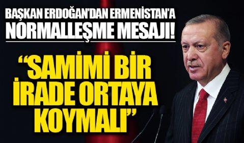 Başkan Erdoğan'dan Ermenistan'a net mesaj: Sorunlarını çözme yönünde samimi bir irade ortaya koyması gerekiyor