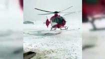 Ağrı'da Kar Ve Tipi Nedeniyle Yolu Kapanan Köydeki Hamile Kadın İçin Ambulans Helikopter Seferber Oldu