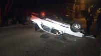 Park Halindeki Römorka Çarpan Otomobil Takla Attı