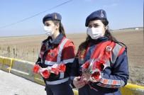 Jandarma Kontrol Noktasında Kadınlara Karanfil Dağıtıldı