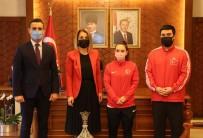 Avrupa Halter Şampiyonasında Üçüncü Olan Şaziye Erdoğan, Vali Becel'i Ziyaret Etti