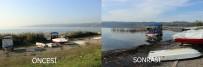 Sapanca Gölü'nde Su Seviyesi Yükseldi, Karaya Oturan Kayık Sular Altında Kaldı