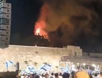 İsrailliler Mescid-i Aksa'da çıkan yangını sevinçle izledi!