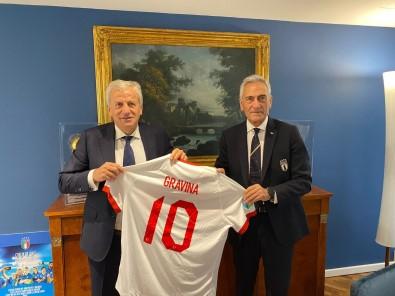 Servet Yardimci'dan Italya Futbol Federasyonu Baskani Gravina'ya Ziyaret