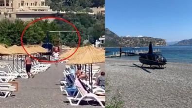 Böyle görgüsüzlük görülmedi! Helikopter plaja indi