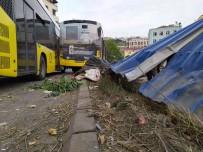 KEMERBURGAZ - Kagithane'de Freni Bosalan IETT Otobüsü Metro Insaatina Daldi