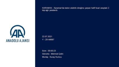 Karaman'da Elektrik Diregine Çarpan Araçtaki 2 Kisi Agir Yaralandi