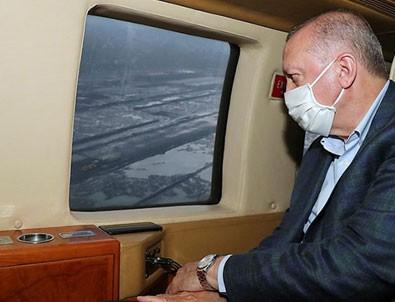 Başkan Erdoğan, Rize-Artvin Havalimanını havadan inceledi!