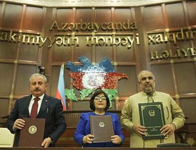 Azerbaycan-Pakistan-Türkiye parlamento başkanları Bakü Beyannamesi'ni kabul etti!