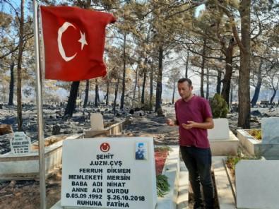 Tüyleri diken diken eden olay: Yangında zarar gören mezarlıkta şehit kabri ve Türk bayrağı yanmadı!