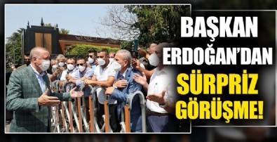 Başkan Erdoğan minibüsçüleri görünce makam aracından indi! Minibüsçülerden Erdoğan'a teşekkür