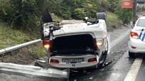 KEMERBURGAZ - Istanbul'da Lüks Otomobil Takla Atti Açiklamasi Sürücünün Burnu Bile Kanamadi