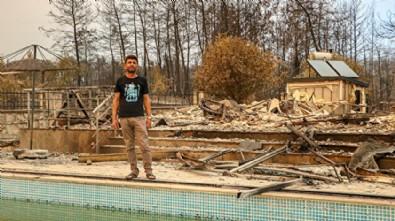 Alevlerin arasından mucize kurtuluş! Havuza girerek hayatta kaldılar...