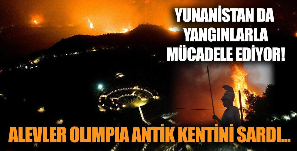 Yunanistan da alevlere teslim oldu! Olimpia Antik Kenti duman altında...