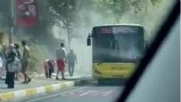 Sarıyer'de İETT'ye ait bir otobüsün motoru alev alev yandı!